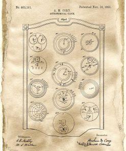 Plakat z zegarem astronomicznym