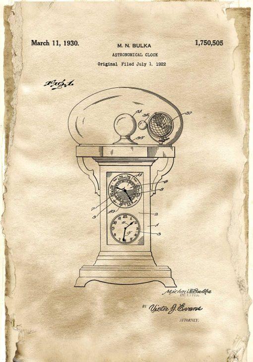 Plakat retro z motywem rysunku opisowego zegara do pokoju nastolatka