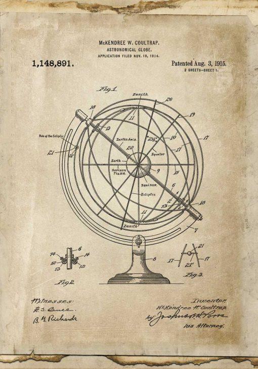 Poster dla wynalazcy - Astronomiczny globus do salonu