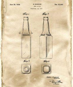 Plakat z certyfikatem na butelkę w kolorze sepii