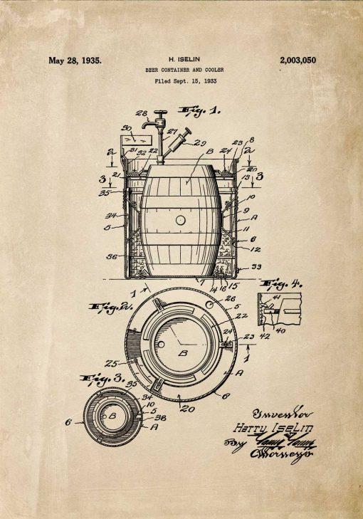 Plakat z patentem na budowę beczek do warzenia piwa