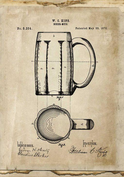 Plakat beer mug - patent z roku 1876 - do pubu