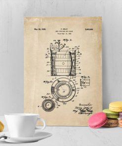 Plakat w stylu retro z atestem na beczki do piwa