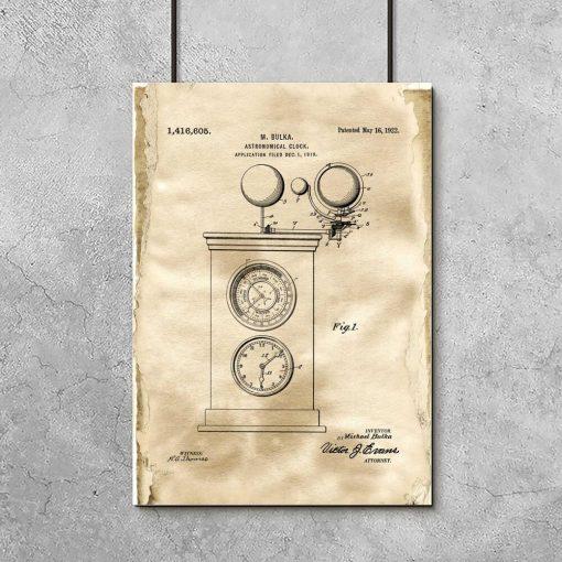 Plakat ze starym projektem zegara w stylu vintage