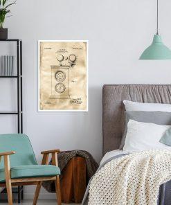 Plakat ze starym projektem zegara do sypialni w stylu vintage