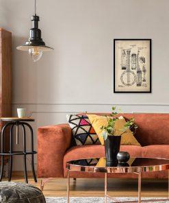Plakat retro z rysunkiem opisowym bandżo do salonu