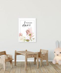 Imienny plakat z kwiatową wróżką do pokoju dziewczynki
