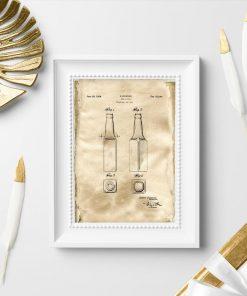 Plakat patent z 1933r - butelka na piwo - kolekcja vintage