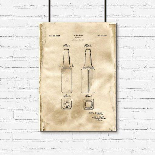 Plakat patent na butelkę do piwa z kolekcji retro