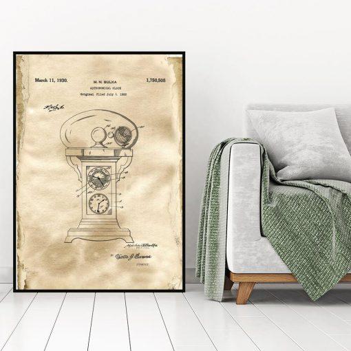 Plakat retro z motywem rysunku opisowego zegara do gabinetu