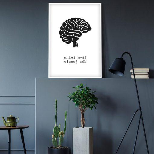 Motywacyjny plakat z mózgiem do biura