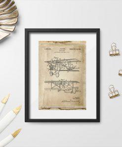 Plakat z patentem na pierwszy samolot