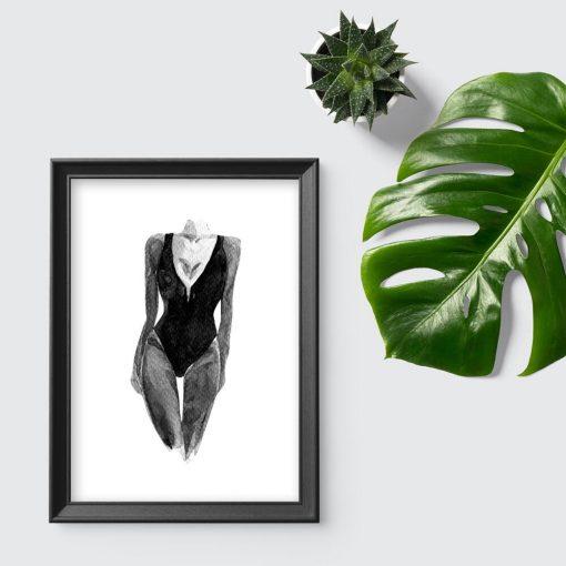 Plakat z motywem modelki w szarym kolorze