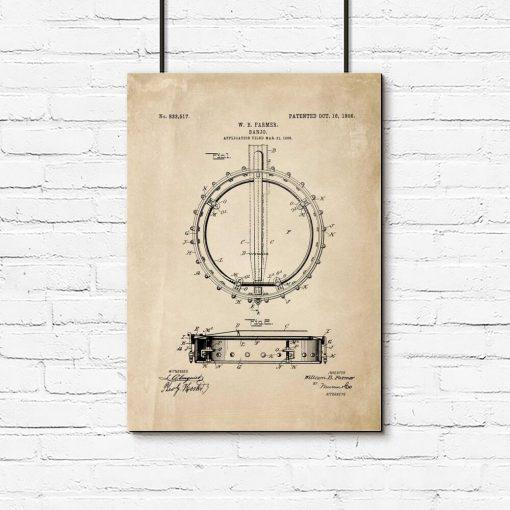 Muzyczny plakat z patentem bandżo do salonu