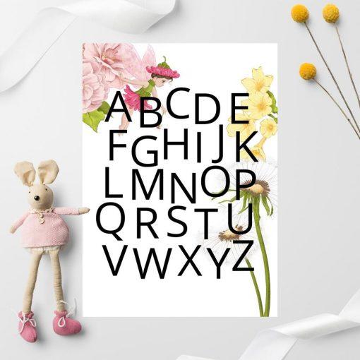 Plakat z alfabetem i kiatami dla przedszkolaka
