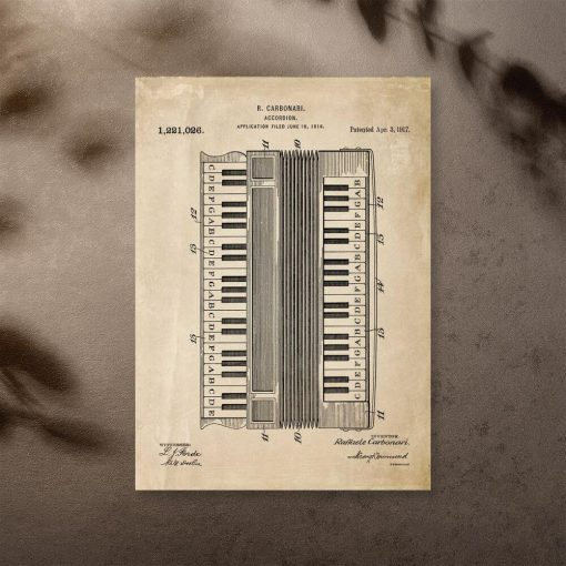 Plakat do oprawienia z opisem akordeonu