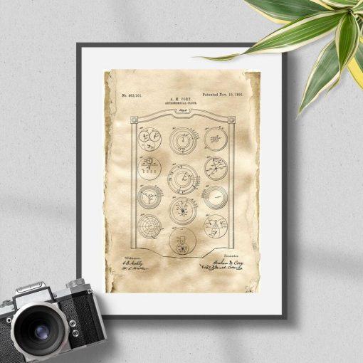 Poster z zegarem planetarnym