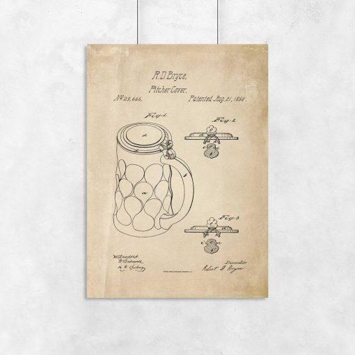 Plakat w stylu retro z osłonką na piwny kufel