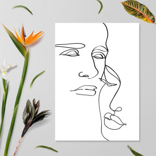 Szkic twarzy na plakacie - studium rysunku