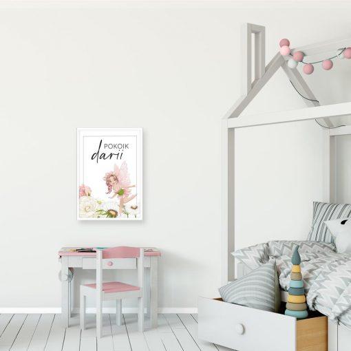 Imienny plakat z kwiatową wróżką dla dziewczynki