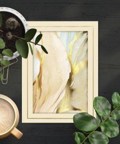 Beżowa abstrakcja z domieszką złota - plakat