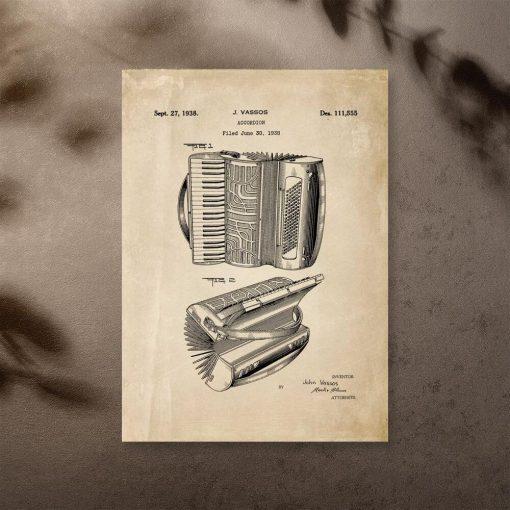 Plakat z ryciną akordeonu