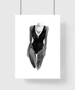 Plakat z kobiecą sylwetką do dekoracji salonu