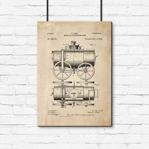 Plakat do oprawienia - patent na pojazd do przewożenia piwa