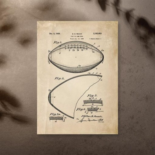 Plakat z rysunkiem technicznym piłki