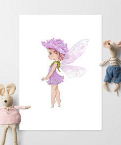 Plakat dla dziewczynki z leśnym liliowym elfem