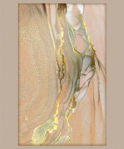 Plakat z imitacją marmuru w odcieniach złota