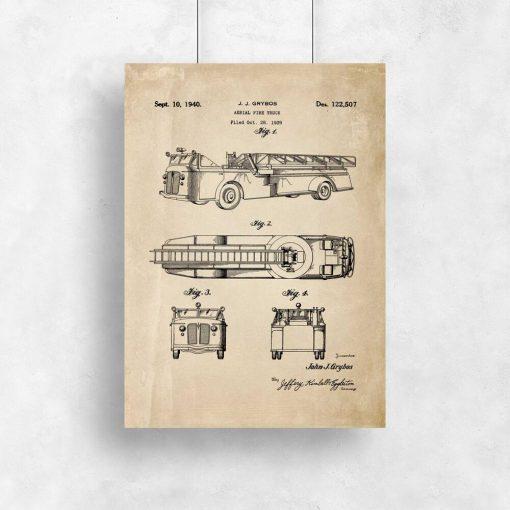 Plakat retro w sepii - rycina wozu strażackiego