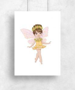 Plakat dziecięcy z żółtą kwiatową wróżką