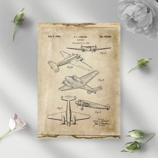Plakat konstrukcja samolotu pasażerskiego dwusilnikowego