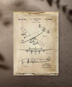 Samolot pasażerki na plakacie - sepia