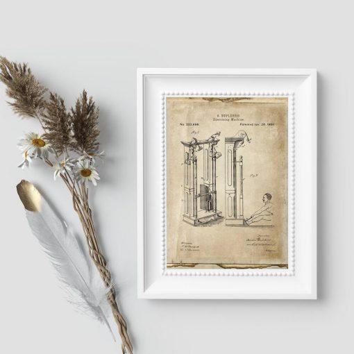 Plakat wynalazek z XIXw. - maszyna do ćwiczeń