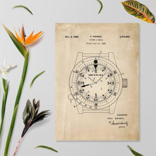 Plakat w stylu retro z patentem na zegarek