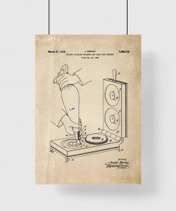 Plakat vintage z urządzeniem domowym do produkcji paczków