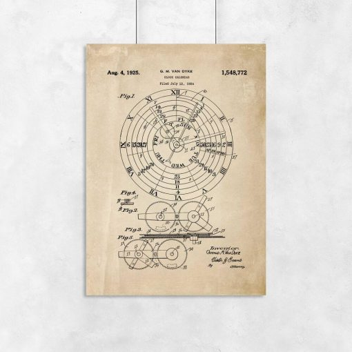 Plakat z kalendarzem mechanicznym - patent do powieszenia w gabinecie
