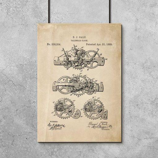 Plakat -rycina - mechanizmu poruszającego kalendarz