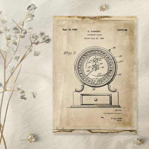 Poster retro z patentem na tworzenie kalendarza