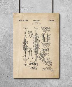 Plakat vintage z rysunkiem patentowym klarnetu