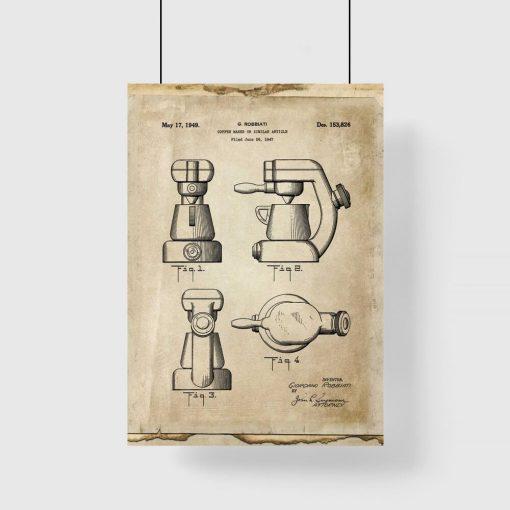 Plakat z rysunkiem opisowym ekspresu kawowego do kawiarni do kawiarni