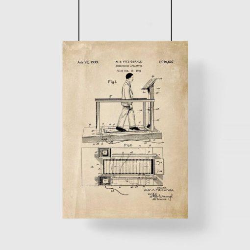 Poster z reprodukcją patentu na bieżnię do siłowni