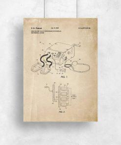 Plakat retro z patentem na defibrylator