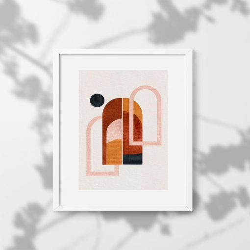 Plakat z motywem kropki i okien w czekoladowych barwach