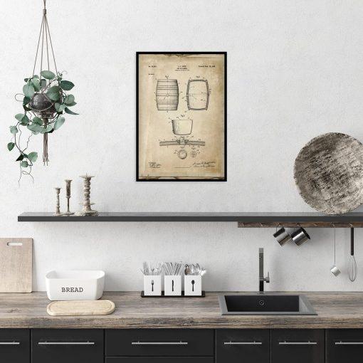Plakat z rysunkiem opisowym beczki do gabinetu