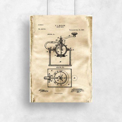 Fantastyczny plakat dla baristy z rysunkiem opisowym młynka do kawy do kawiarni
