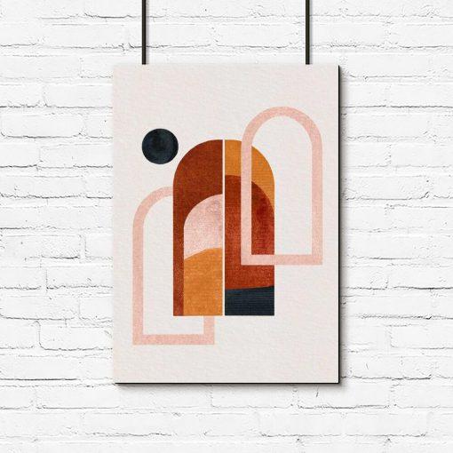 Plakat z motywem okien i widoku z nich