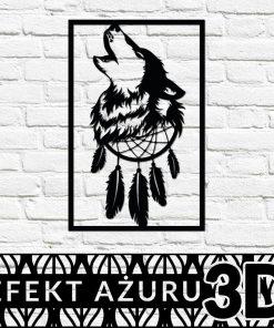 Przestrzenna dekoracja z wilkiem